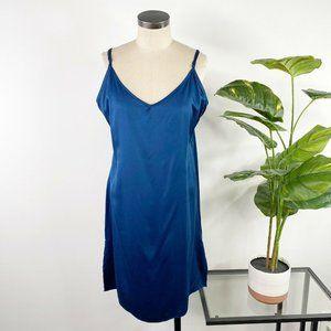 Sundance V Neck Midi Slip Dress 14 Blue